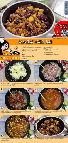 Mexikói chilis bab recept elkészítése videóval Easy Cooking, Cooking Recipes, Healthy Recipes, Good Foods To Eat, Food To Make, Helathy Food, Hungarian Recipes, Yummy Food, Tasty