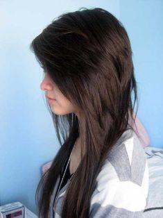Long V Cut Choppy Hair