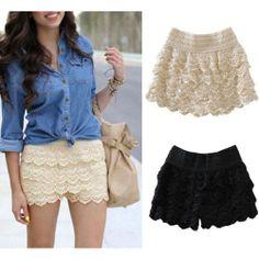 New Hot Sexy Womens Lace Pants Short Crochet Tiered Skirts Dress Black Beige J