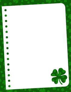 A shamrock-themed border. This is great for St. Patrick's Day or any project with an Irish theme. Free downloads at http://pageborders.org/download/shamrock-border/