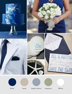 Navy wedding colour palette #Navy #Blue #Wedding … Wedding #ideas for brides, grooms, parents & planners https://itunes.apple.com/us/app/the-gold-wedding-planner/id498112599?ls=1=8 … plus how to organise an entire wedding, within ANY budget ♥ The Gold Wedding Planner iPhone #App ♥ For more inspiration http://pinterest.com/groomsandbrides/boards/ #Navy #ceremony #reception