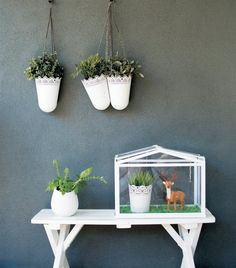 Grow herbs in SKURAR hanging baskets next to the barbecue, so it's easy to add fresh seasoning to dishes | See more ideas from Leanne's garden makeover in live from IKEA FAMILY