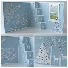 handcrafted Chrstmas card from pamscrafts ... baby blue with white die cuts and ink ... fancy pop -up step fold ... delightful!!