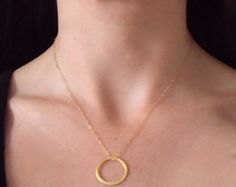 Gold Circle necklace with gold filled chain and Vermeil gold ring