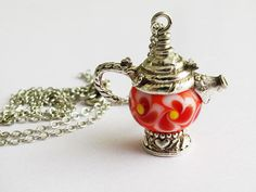 Teapot Charm Necklace Floral Kitchen Jewelry by GlassHouseLampwork