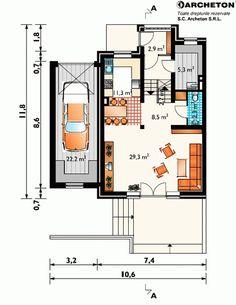 proiecte-de-case-duplex-duplex-house-plans-6 Design Case, Floor Plans, How To Plan, Houses, Floor Plan Drawing, House Floor Plans