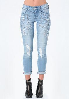 Embellished Destroyed Jeans - Bottoms | bebe