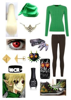 """Creepypasta: Daughter of BEN Drowned"" by ender1027 ❤ liked on Polyvore featuring Polo Ralph Lauren, Vince, Converse, ORLY, Allurez and Nintendo"