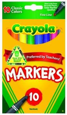 Crayola 10ct Classic Fine Line Markers by Crayola. $3.90. From the Manufacturer      Crayola 10ct Classic Fine line Markers with convenient packaging and educator preferred color selection.                  Product Description      Fine Line Markers in: Brown, Purple, Red, Orange, Yellow, Green, Blue, Black, Pink and Gray. These 10 classic color fine line markers are perfect for detailed drawing and writing. Non-toxic. Conforms to ASTM D 4236. Made in USA.