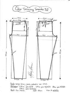 Patrón de pantalón pitillo o ajustado. Tallas desde la 36 hasta la 56.