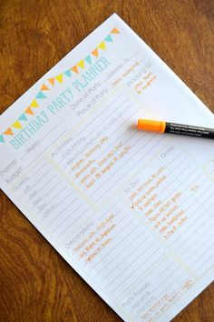Birthday Party Planner: Printable