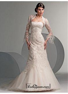 Beautiful Elegant Tulle Mermaid Strapless Wedding Dress In Great Handwork