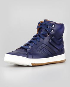 Atlanta Leather High-Top Sneaker, Blue  by Bally at Neiman Marcus.