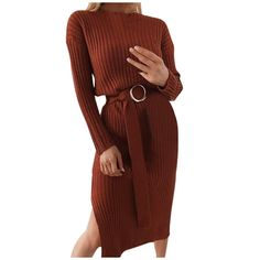 Honestyivan Fashion Women's Casual Long Sleeve O-Neck Pure Color with A Belt Dress Belted Dress, Women's Casual, High Neck Dress, Pure Products, Long Sleeve, Womens Fashion, Sleeves, Sweaters, Color