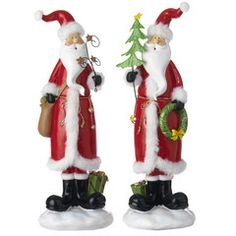 """Festive Red and White Santa Claus Figurines 14"""" - PerfectlyFestive"""