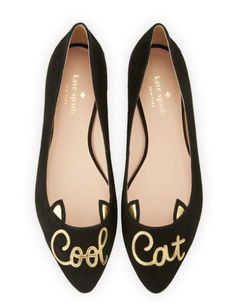 c0870b6fd kate spade black ballerina flats flat shoes cool cat suede Black Ballet  Shoes, Black Slip