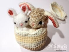 Special SALE Instant Download PATTERN Pearls and Bubbles the Bunnies in Easter Egg Gift Crochet Amig