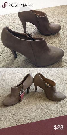 Taupe brown, Molly style heels Never worn, size 9, gorgeous bootie heels. Merona Shoes Heels