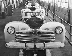 The Ford Motor Company's final assembly line at the River Rouge plant, can be seen at a halt, during one of the many postwar labor union strikes in this Feb. 19, 1946, press photo.