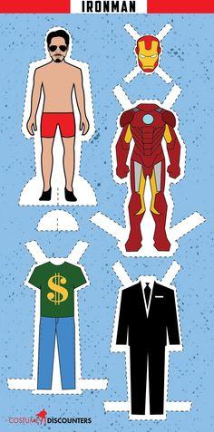 Ironman: Muñeco de Papel para Vestir, para Imprimir Gratis.