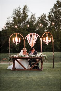 Sweetheart table decor idea with chandeliers------ Madam Palooza is thrilled to be featured in Wedding Chicks for the wedding of our client's special day at Cross Creek Golf Club. Listed below are a few of the wonderfully talented vendors who made this wedding beautiful. Madam Palooza - Rentals  Michelle Garibay Events - Coordinator  Carla Kayes Floral Design - Florist  Dulcet Weddings - Photography