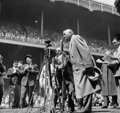 "Ailing baseball great Babe Ruth thanks the crowd at Yankee Stadium for their ovation on ""Babe Ruth Day,"" April 27, 1947"