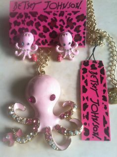 BETSEY JOHNSON OCTOPUS NECKLACE/EARRINGS SET ADORABLE  QUALITY A+++