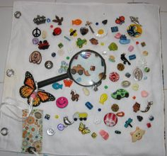 What's This! quiet book page. Magnifying Glass has a pocket. Made by Candy
