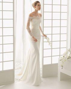 Langes Brautkleid mit transparenten Ärmeln, Rosa Clará.