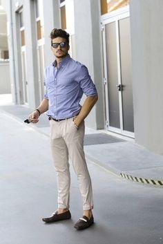 Men's Pink Blazer, Light Violet Vertical Striped Dress Shirt, Beige Chinos, Grey Tie | Lookastic for Men