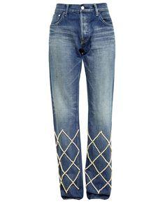 TU ES MON TRESOR | Pearl Embellished Boyfriend Jeans