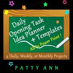 This Opening Task Idea Planner will give novice users suggestions for using opening tasks. This PowerPoint has 4 sections of great tips, practical ideas, suggestions, and how 2s for teachers:  > Section 1 has slides you may share with your students; > Section 2 has template slides with opening task suggestions; > Section 3 has Monday – Friday generic opening task slides; > Section 4 includes Teacher How 2s, Suggestions & Ideas.