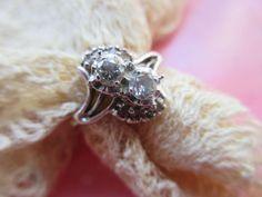 Vintage 10K Diamond Ring in Celluloid Velvet Display Case