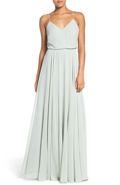 6a03ea27a9862 Jenny Yoo 'Inesse' Chiffon V-Neck Spaghetti Strap Gown in Morning Mist (