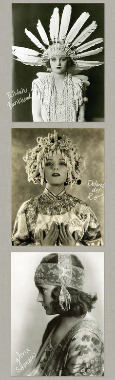 1920's Headgear - Tallulah Bankhead, Dolores del Rio, and Gloria Swanson - http://birdsofoh.blogspot.no/