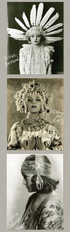 1920's Headgear - Tallulah Bankhead, Dolores del Rio and Gloria Swanson - @~ Mlle