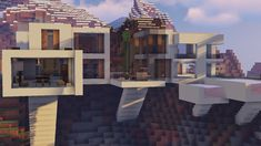 Discover recipes, home ideas, style inspiration and other ideas to try. Minecraft Modern House Designs, Minecraft Modern Mansion, Minecraft Mountain House, Minecraft Interior Design, Minecraft Architecture, Minecraft Designs, Minecraft Mods, Amazing Minecraft Houses, Minecraft House Plans