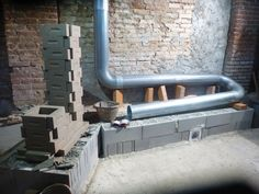 Rocket Mass Heater Under Construction Stove Pipe Circuit