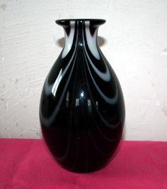 Carlo Moretti, Murano Vase, violett, weiss, 70s, Glas, glass, Sammler