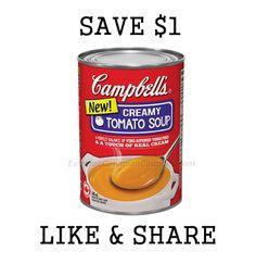 campbellscoupon Tomato Soup, Coupons, Food, Essen, Coupon, Meals, Tomato Soup Recipes, Yemek, Eten