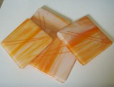 Orange Swirl Fused Glass  Coasters, Handmade Coasters, Hostess Gift by rosepetalsjewelry on Etsy