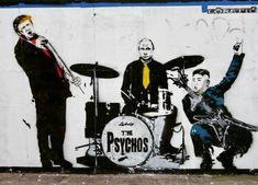 """The Psychos"" : Graffiti--not Banksy Banksy Graffiti, Street Art Banksy, Graffiti Wall Art, Mural Art, Bansky, Urbane Kunst, Political Art, London Art, London Street"