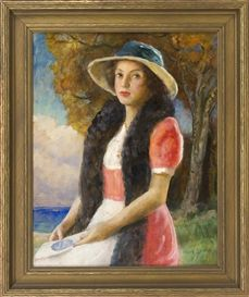 Artwork by Harold C. Dunbar, Old Fashioned Girl, Made of Oil on board