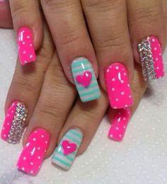 Valentine Nail Art, Valentines Day, Cute Nail Art, Cute Nails, Valentine's Day Nail Designs, Pink Nails, Beauty, Lidl, Nail Ideas