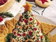 Holiday Tree-Shaped Cheese Ball~T~ So easy and you can make it up to one month ahead.