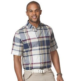 Chaps® Men's Short Sleeve Plaid Oxford | Younkers
