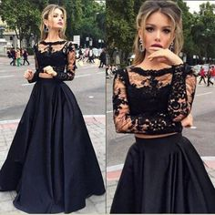 Formal long sleeve two piece lace black prom dress,long formal black lace evneing dress FashionDressGallery