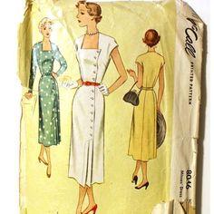 1950s Asymmetrical Buttoned Dress Pattern by VtgSewingPatterns, $20.00