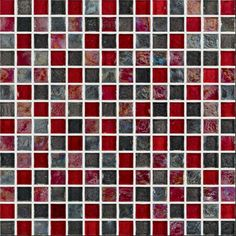 """Beyond Beauty: Origins Glass™ tiles from Crossville® are made of recycled glass which require fewer raw materials to be used in production. And as part of Crossville's glass tile program, every purchase of Origins Glass mosaics contributes to Common Thread for the Cure, a program offering care and support to families affected by breast cancer. This stunning focal point is rendered in 1"""" x 1"""" Fire Blend Mosaic."""