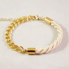 Single Rope & Gold Chain Bracelet. $16.00, via Etsy.